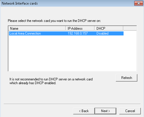 dhcp server on windows 7